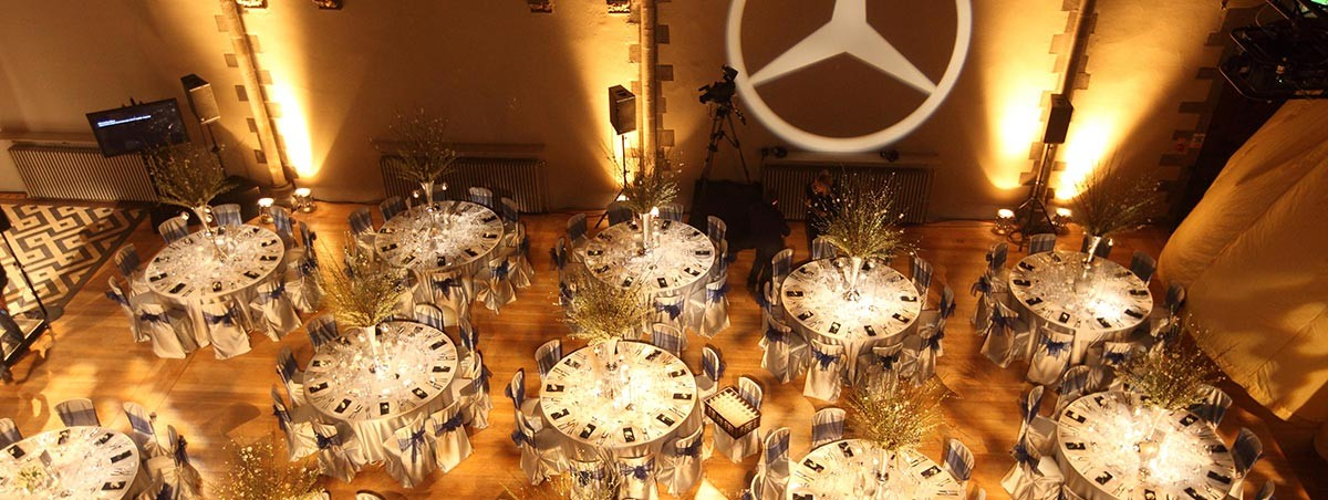 Silver and navy blue mercedes benz event