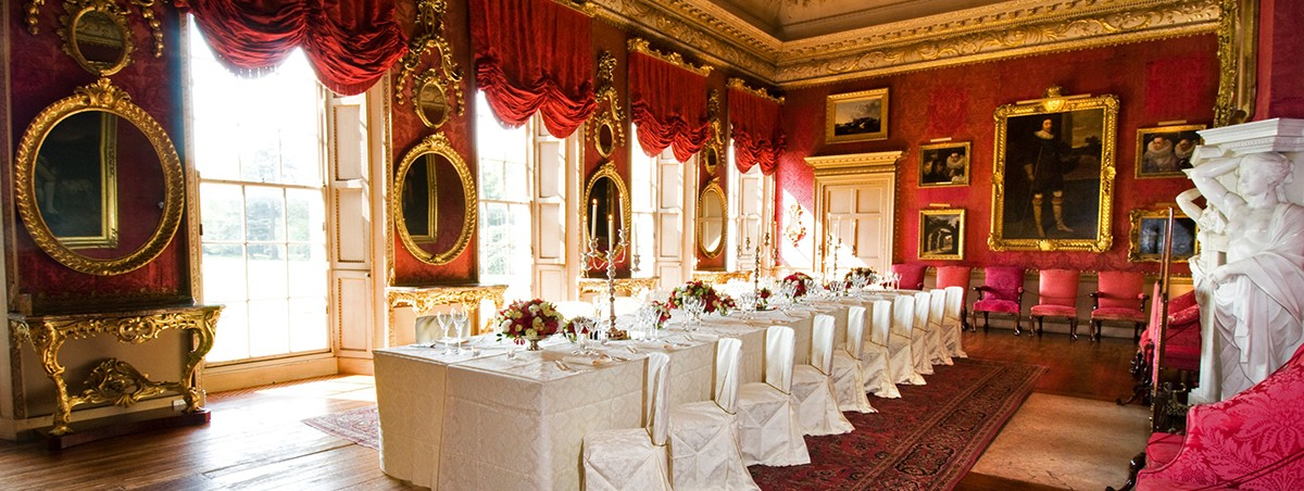 Intimate dinner in the red Drawing Room, Hopetoun House