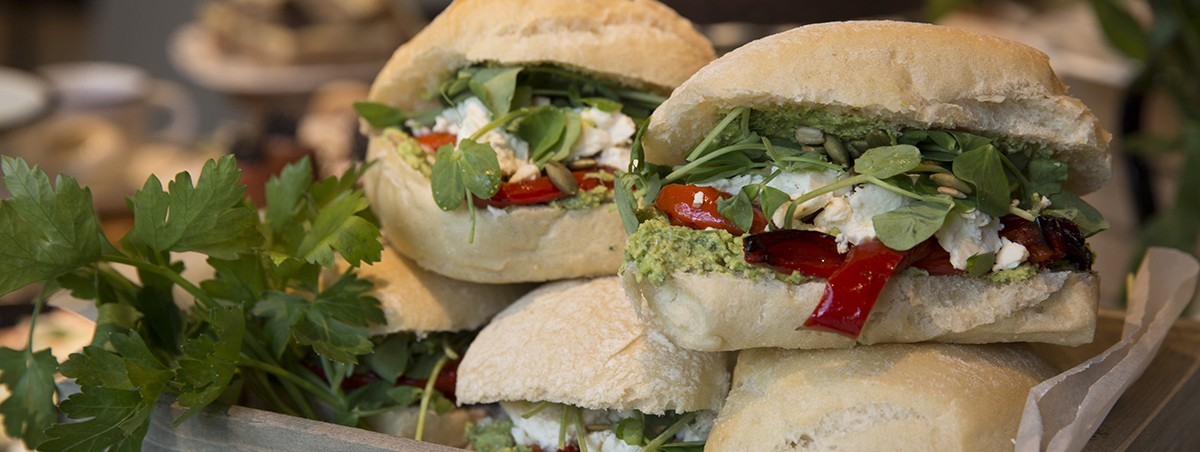Feta, roast pepper, minted pea pate, rocket and hazelnut dukkah deli sandwiches