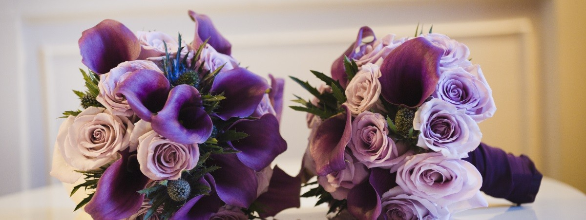 Wedding Flowers Design Purple Colours
