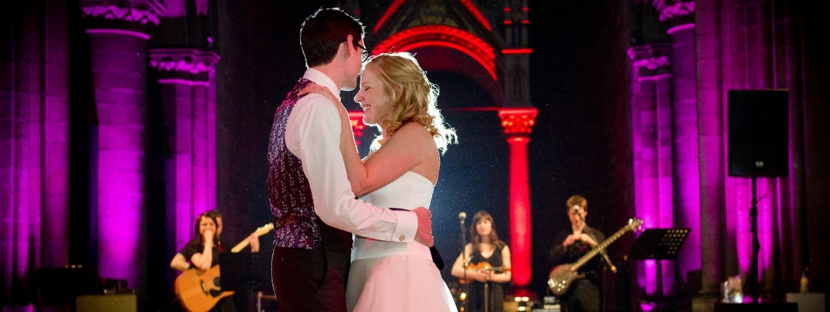 Happy couple's first dance at Mansfield Traquair in Edinburgh