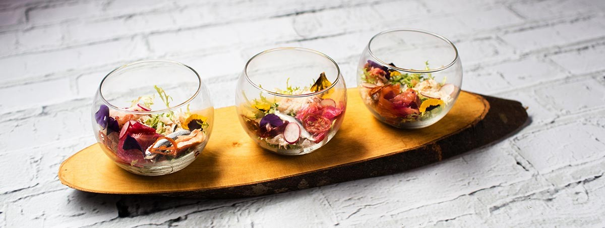 Scottish Seafood & Garden Flowers Salad