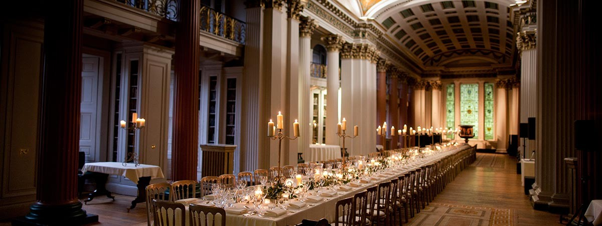 Long table dinner set up for a wedding - venue: The Signet Library in Edinburgh