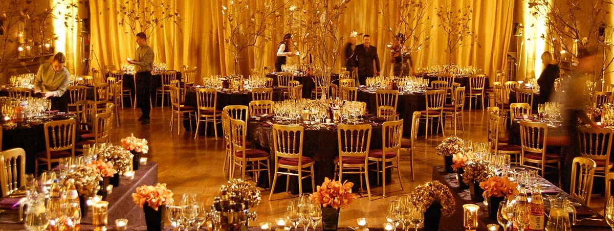 Glowing golden trees wedding theme