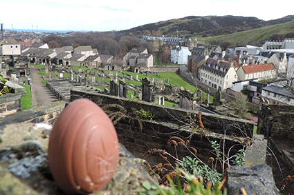 Jester the Egg looking at Holyrood Palace