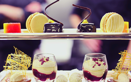 Festive afternoon tea at Colonnades - chocolate orange sacher tortes and mini cherry trifles