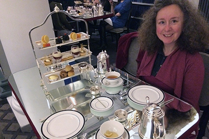 Heritage Portfolio winner enjoying afternoon tea at Colonnades at the Signet Library, Edinburgh